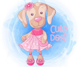Funny cartoon dog illustration vector