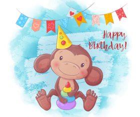 Funny cartoon monkey illustration vector