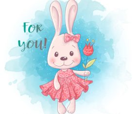 Funny cartoon rabbit illustration vector