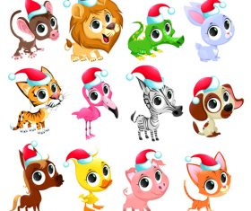 Funny christmas animals pattern background vector