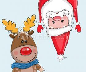 Funny christmas card cartoon vector