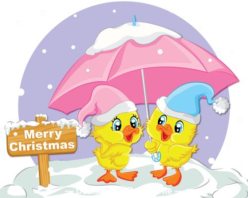Funny christmas greeting card vector