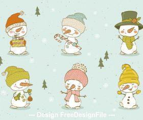 Funny snowman cartoon background vector