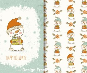Funny snowman illustrations cartoon background vector
