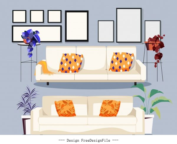 Furnitures icons sofa pictures sketch classic vector