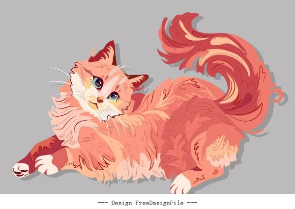 Furry cat painting handdrawn vector