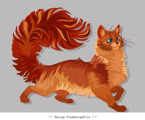 Furry pussy painting brown cute vector