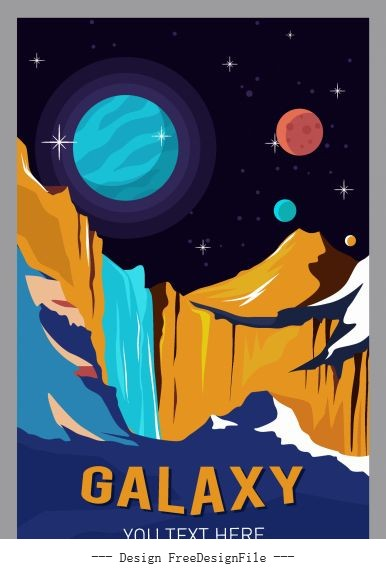 Galaxy poster planets scenery colorful vector
