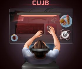 Gaming club top view vector