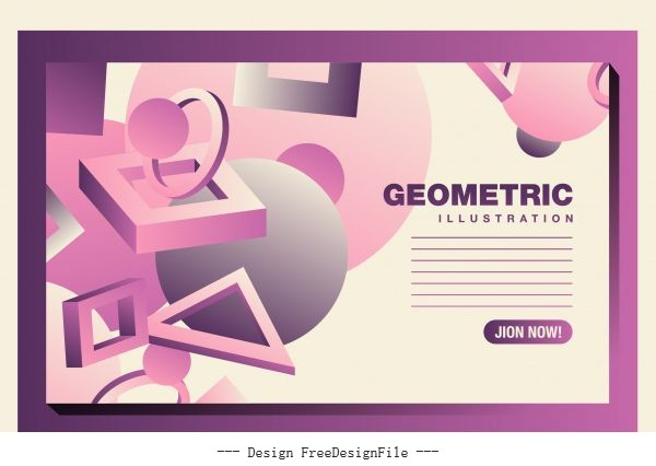 Geometric backdrop template modern 3d pink signs decor vector material