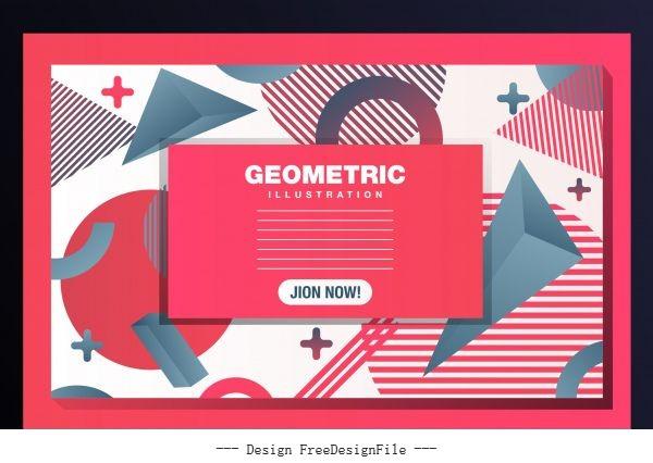 Geometric background modern messy flat 3d decor vector