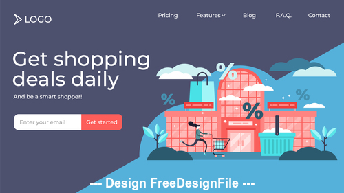 Get shopping deals daily flat illustration vector