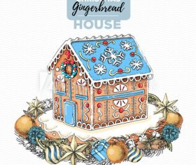 Gingerbread house illustration vector