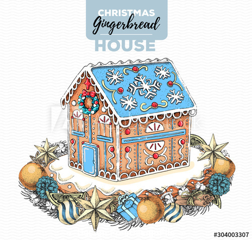 Gingerbread house illustration vector