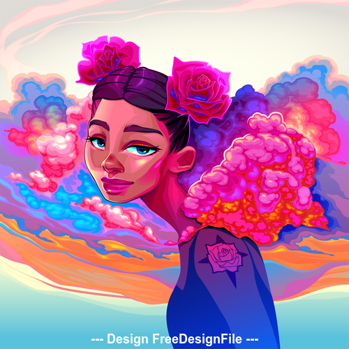 Girl with clouds and roses in the hair vector
