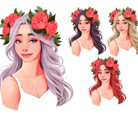 Girls with flowers on their heads vector