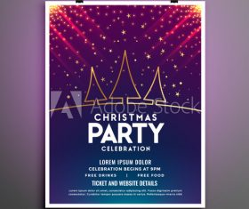 Glittering christmas party flyer vector