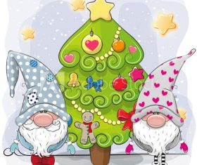 Gnome and christmas tree cartoon vector