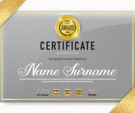 Gold award certifIcate vector