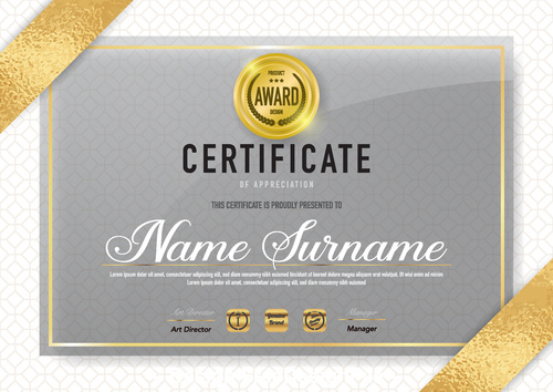 Gold award certifIcate vector