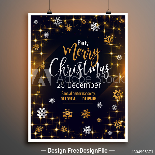 Golden and white snowflake Xmas party flyer vector