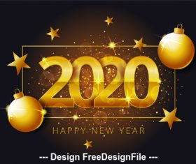 Golden background 2020 christmas new year vector