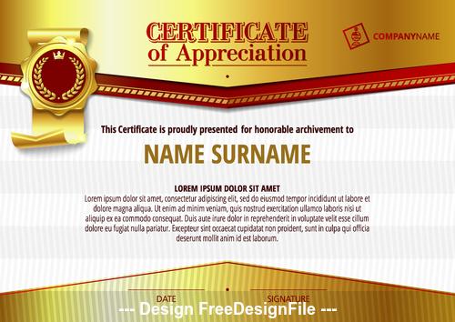 Golden certifIcate vector