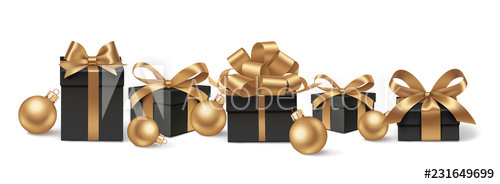 Golden christmas ball and gift box vector