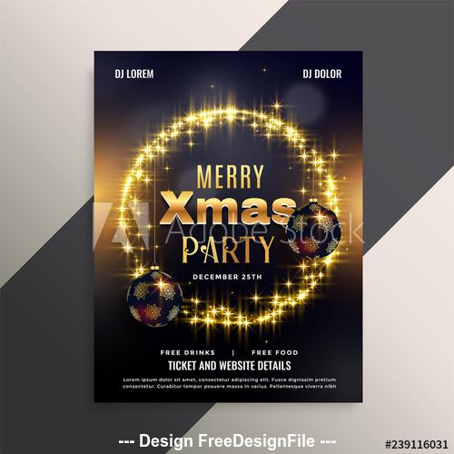 Golden halo 2020 christmas cover flyer template design vector