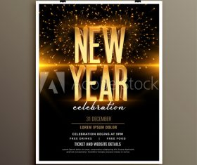 Golden new year alphabet celebration cover flyer template design vector