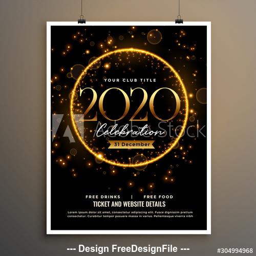 Golden shiny background Christmas celebration cover flyer vector