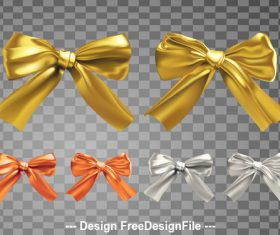 Golden silk realistic bows vector