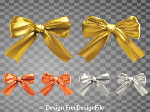 Golden silk realistic bows vector