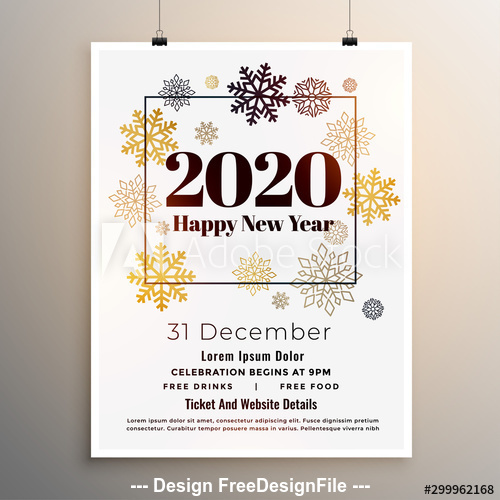 Golden snowflake 2020 new year party flyer vector
