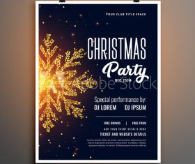 Golden snowflake new year party flyer vector