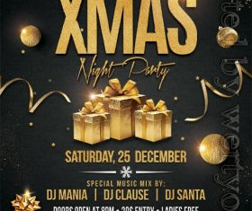 Golden with Black Christmas Party Flyer PSD Template