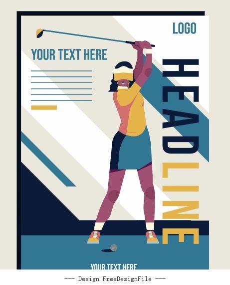 Golf tournament poster female golfer set vector
