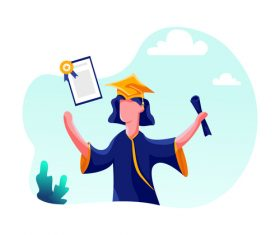 Graduation cartoon illustration vector