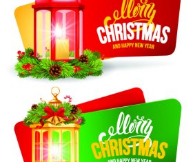 Green and red christmas card banner vector
