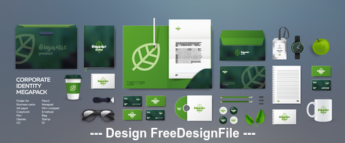 Green background corporate branding identity template vector