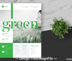 Green event flyer layout vector