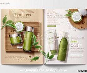 Green tea skin care magazine vector template