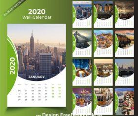 Green wall calendar 2020 template vector