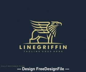 Griffin Lineart logo template vector