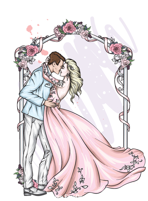 Groom and bride wedding vector