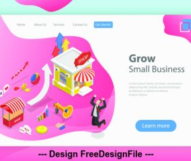 Grow small business flat isometric vector 3d concept illustration