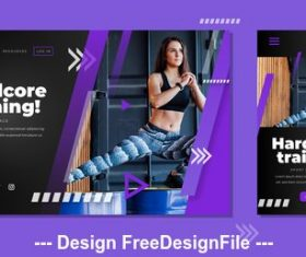 Gym business card design vector