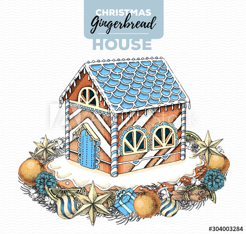 Hand drawing illustration of christmas gingerbread house vector