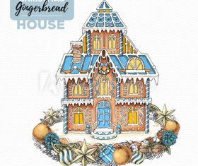 Handmade christmas gingerbread house illustration vector