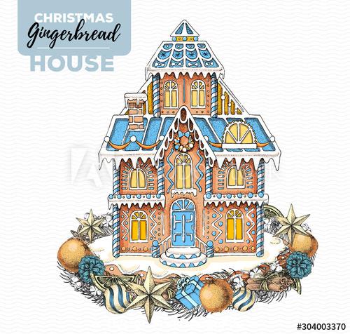 Handmade christmas gingerbread house illustration vector
